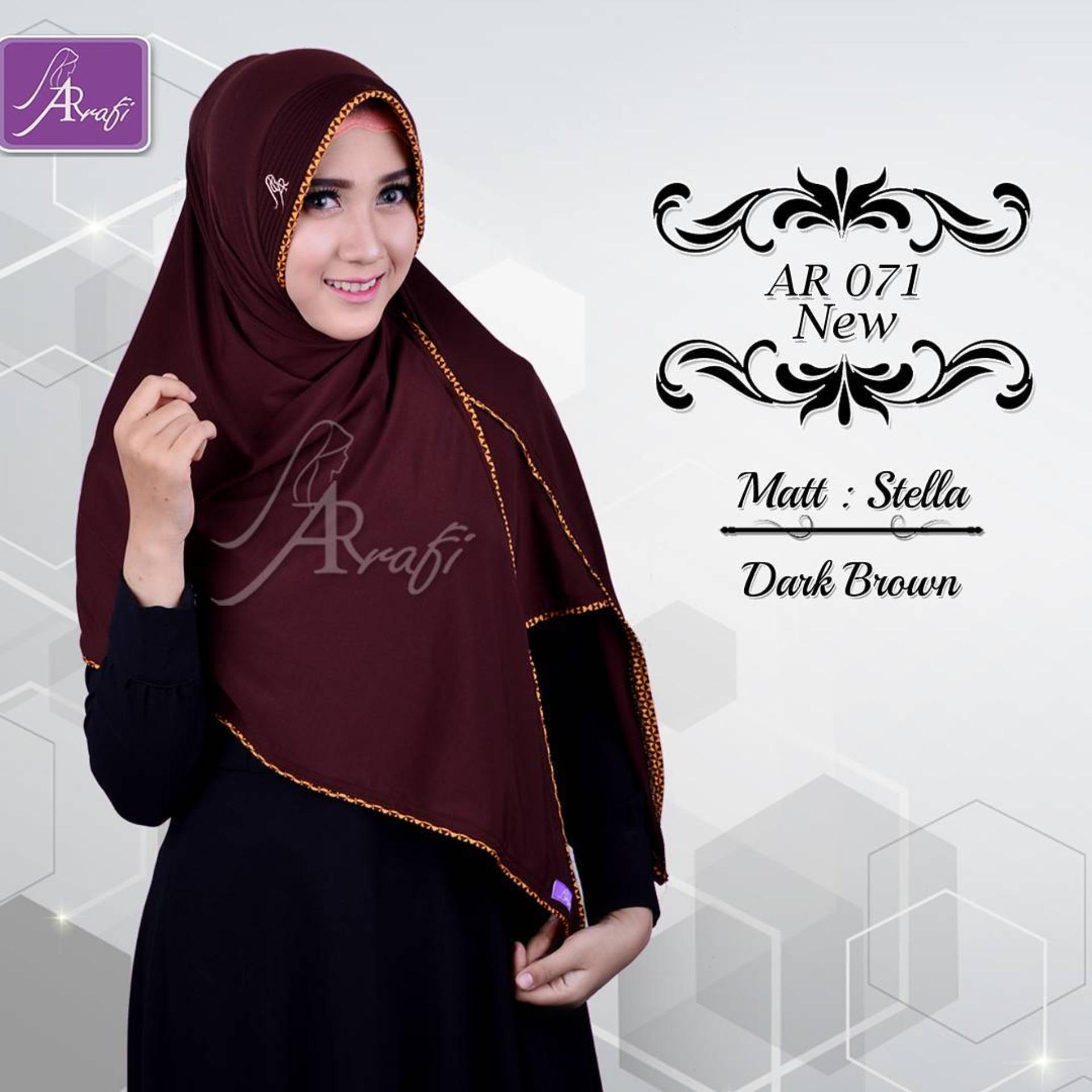 Jual Hijab Instan Arrafi Veena Warna Dark Brown Ar71N Kerudung Jilbab Bergo Termurah